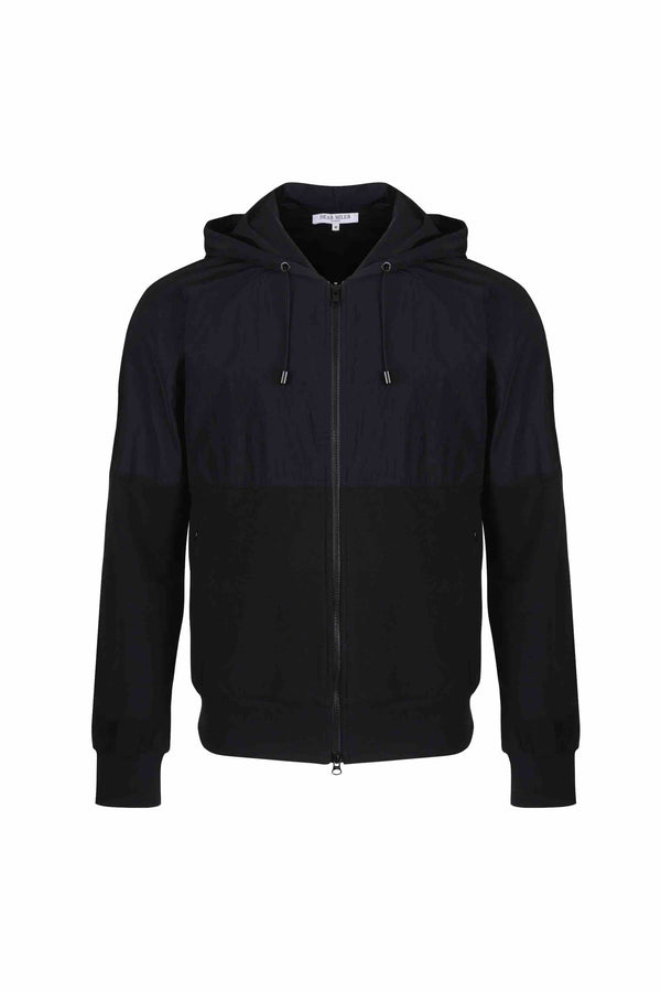 Front view of Men Nylon Hoodie Zip-Up, made with Organic Cotton  in Black