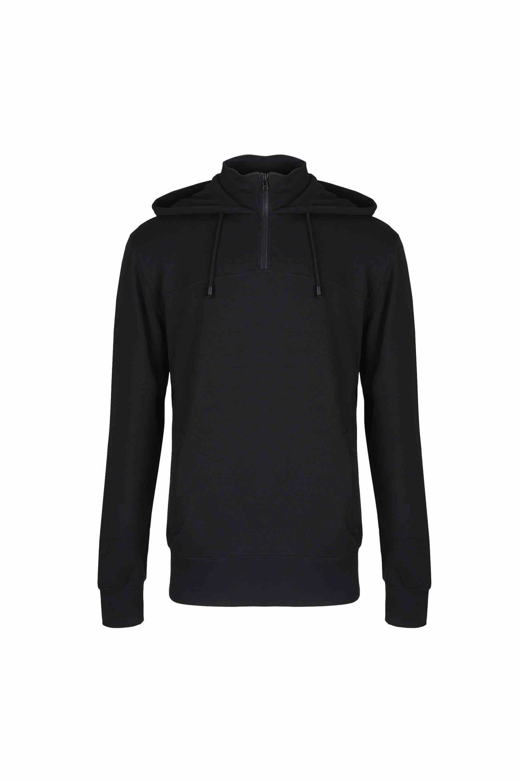 Front view of Men Pullover Hoodie Turtleneck, made with organic cotton in Black