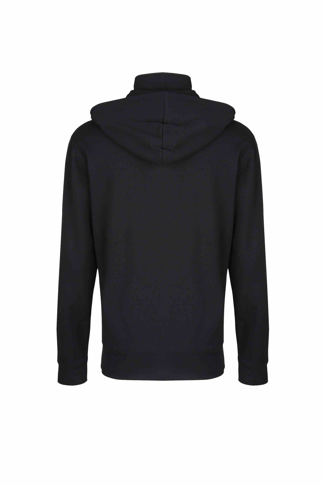 Back view of Men Pullover Hoodie Turtleneck, made with organic cotton in Black