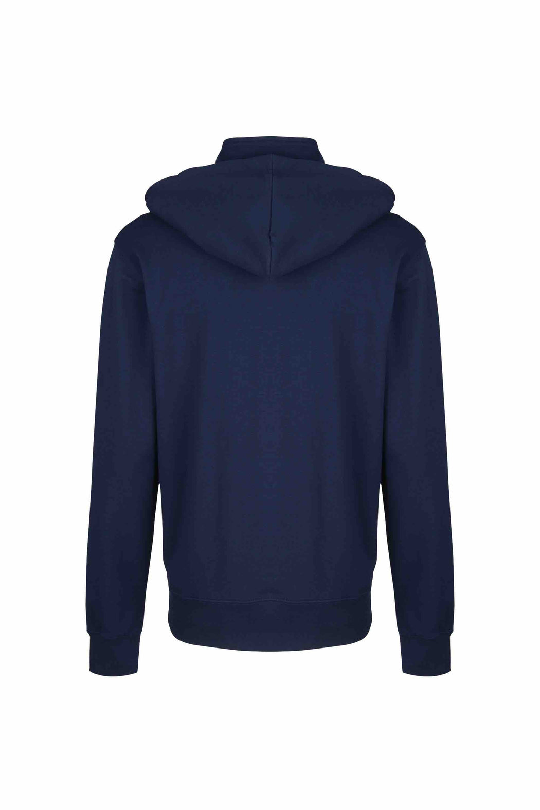 Back view of Men Pullover Hoodie Turtleneck, made with organic cotton in Navy