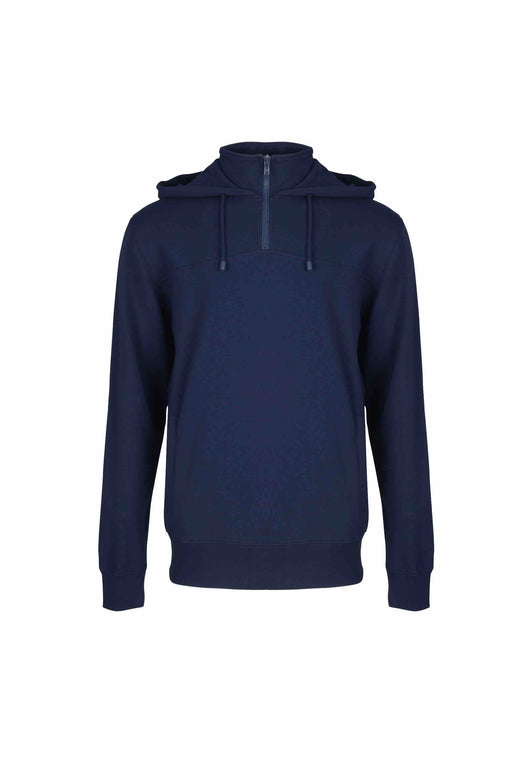 Front view of Men Pullover Hoodie Turtleneck, made with organic cotton  in Navy