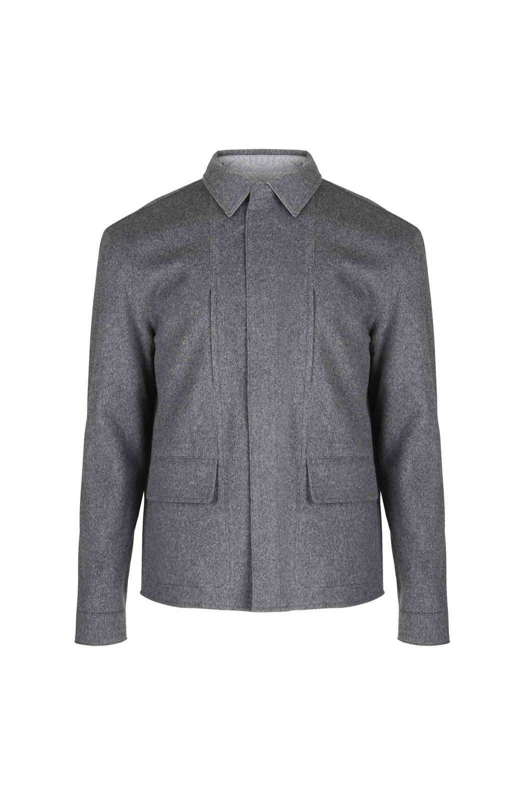 Front view of Men Reversible Wool Jacket in Melange Grey (Wool/cashmere blend side)