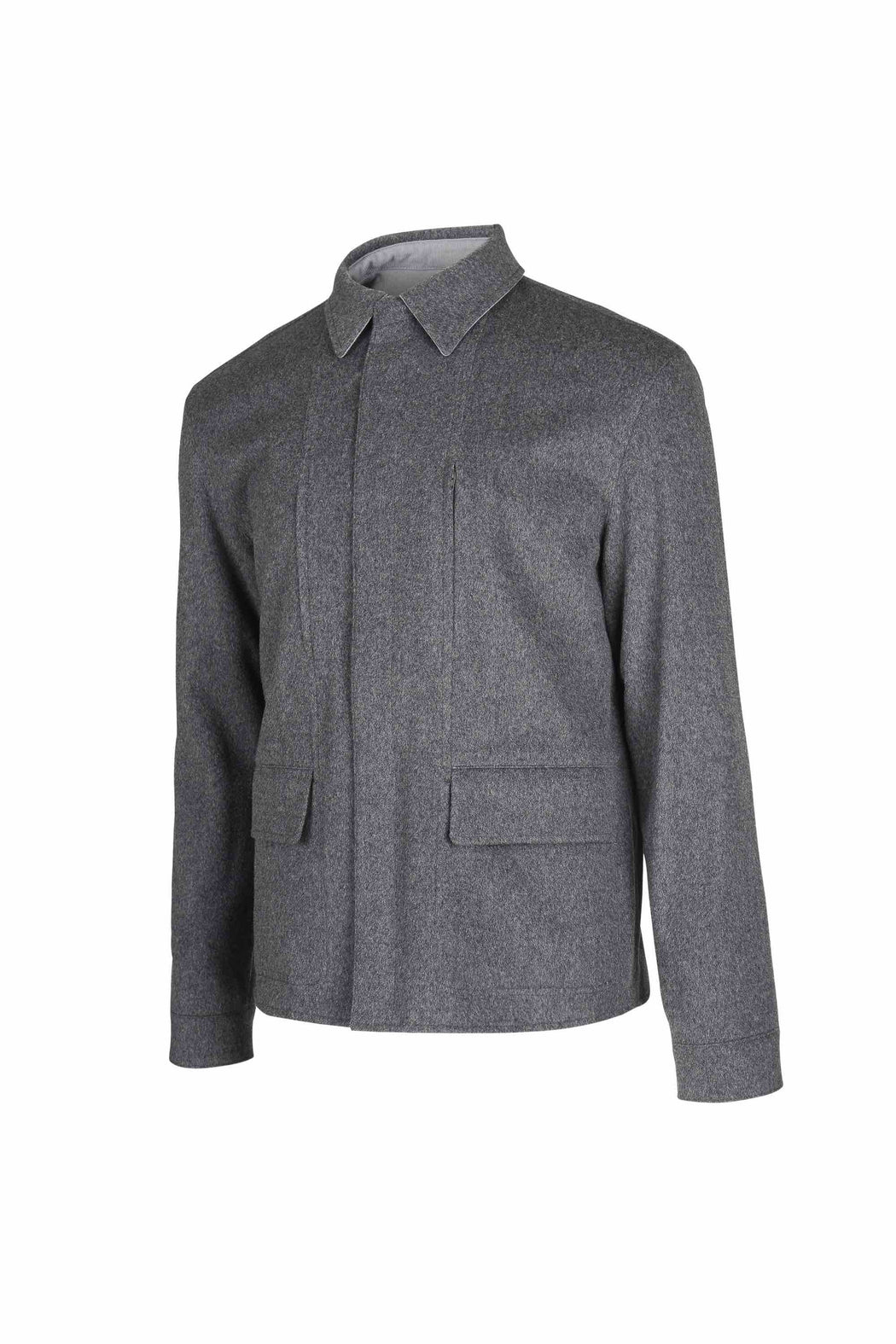 Side view of Men Reversible Wool Jacket in Melange Grey (Wool/cashmere blend side)