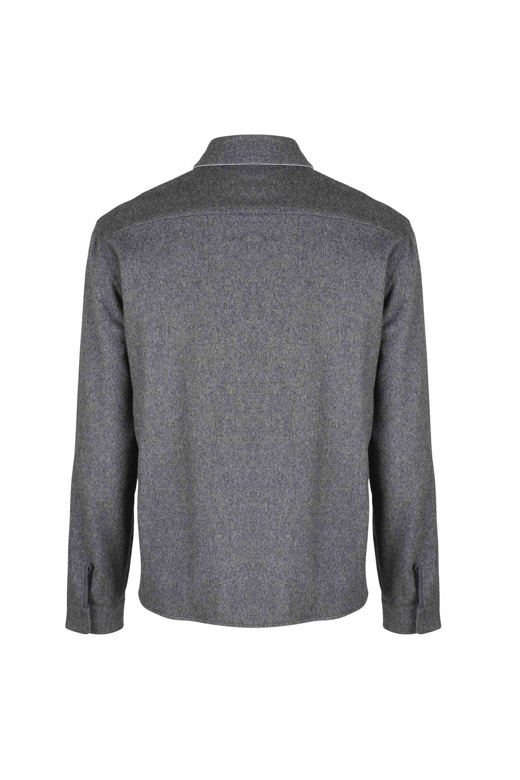 Back view of Men Reversible Wool Jacket in Melange Grey (Wool/cashmere blend side)
