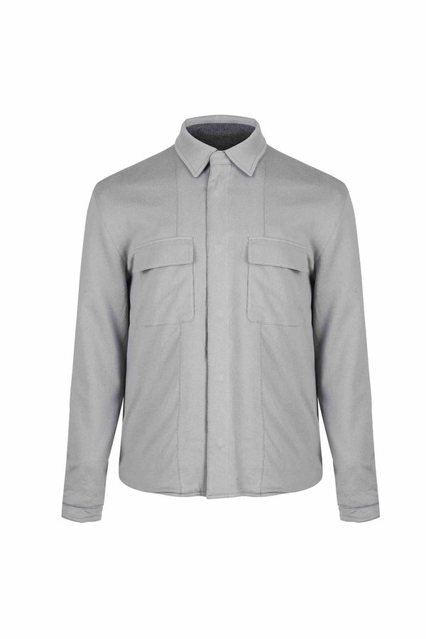 Front view of Men Reversible Wool Jacket in Melange Grey (Organic cotton side)