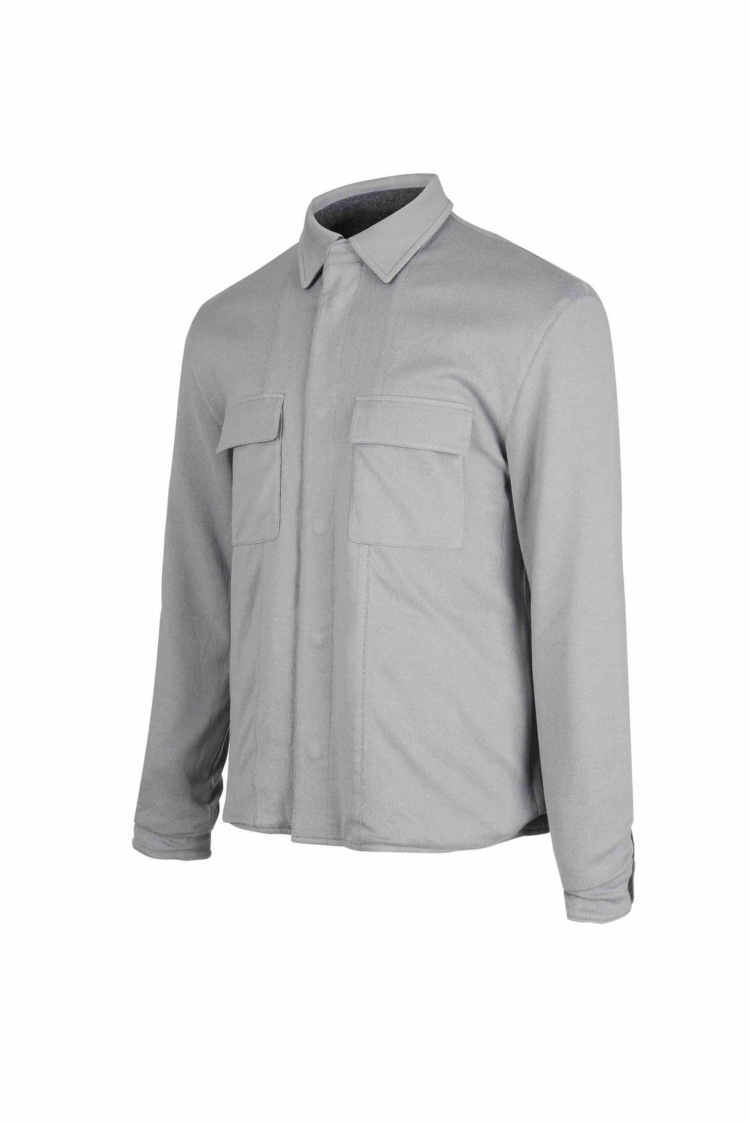 Side view of Men Reversible Wool Jacket in Melange Grey (Organic cotton  side)