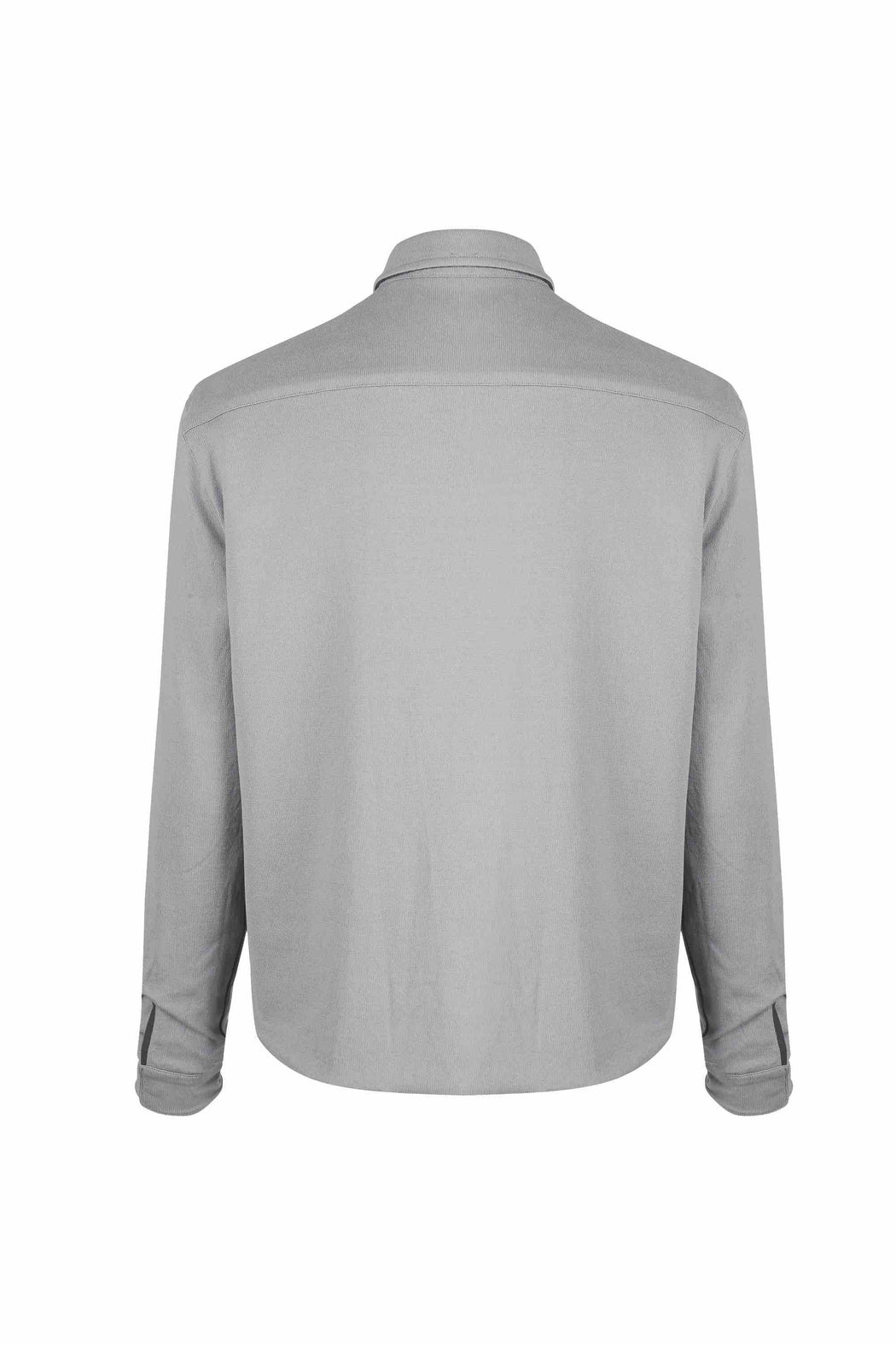 Back view of Men Reversible Wool Jacket in Melange Grey (Organic cotton  side)