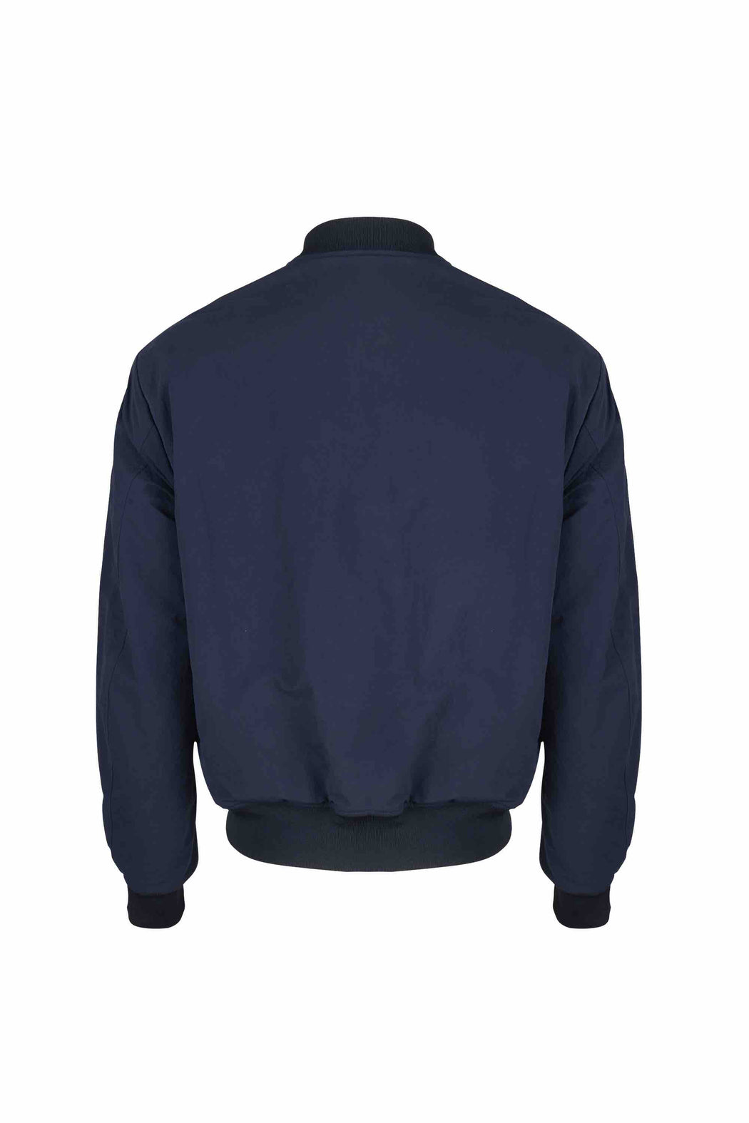 Back view of Men Reversible Wool Patch Bomber in Navy/Black (Navy Side)