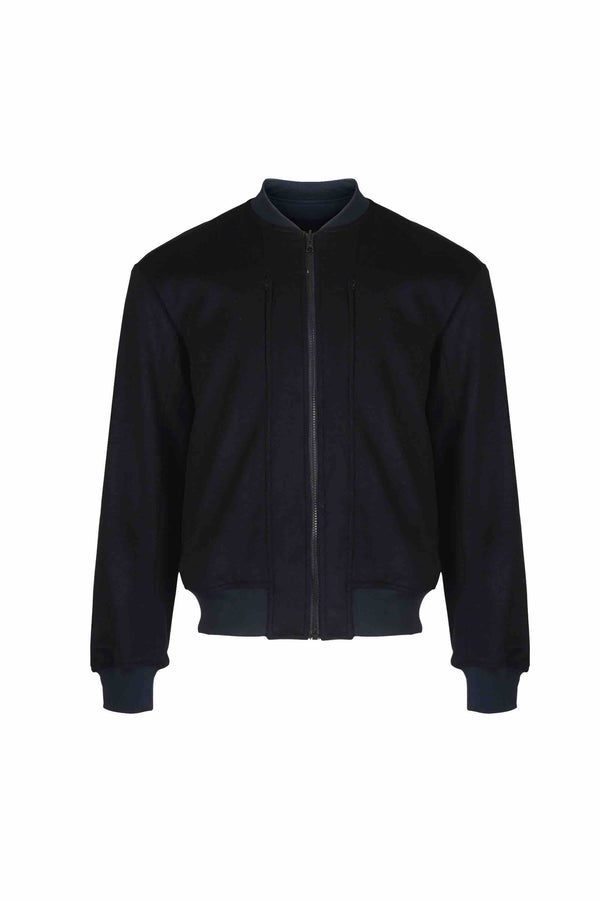 Front view of Men Reversible Wool Patch Bomber in Navy/Black (Black Side)