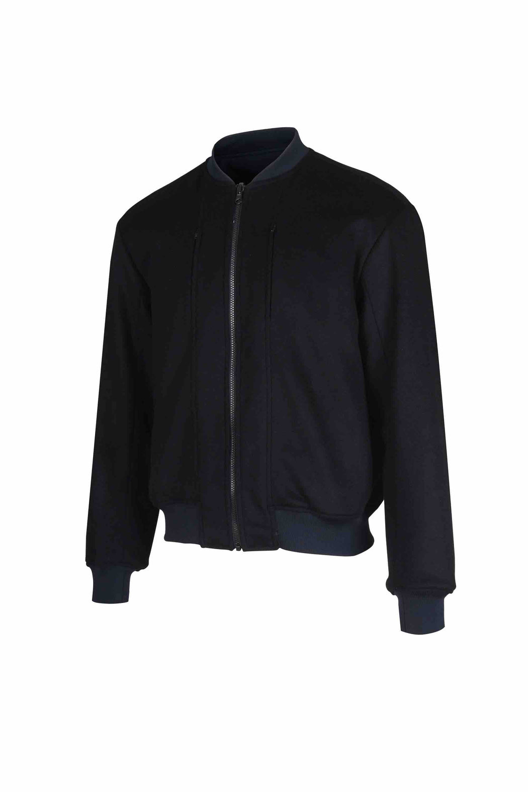 Side view of Men Reversible Wool Patch Bomber in Navy/Black (Black Side)
