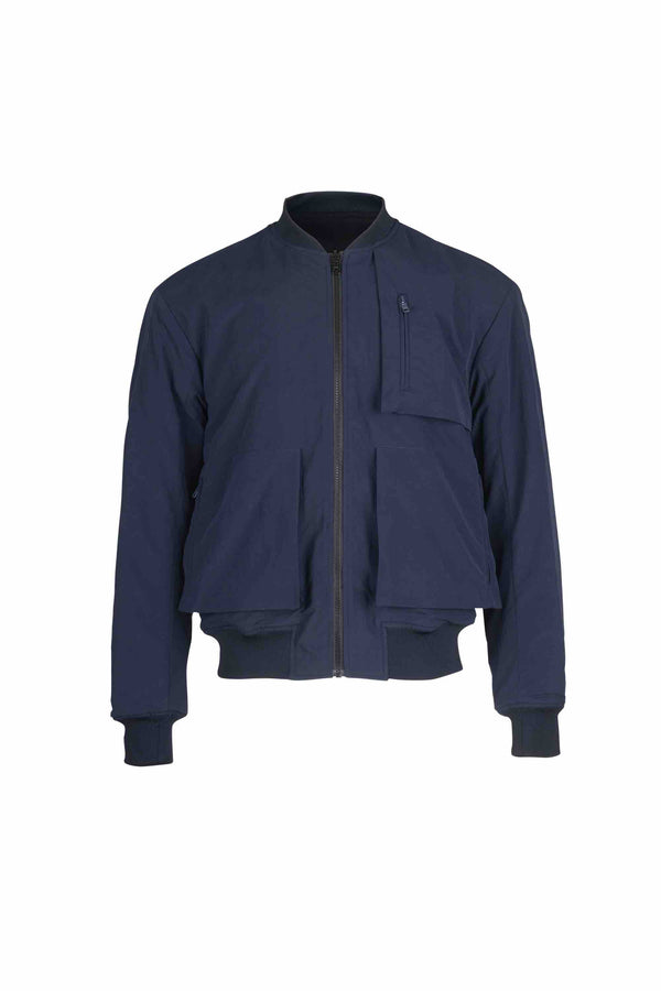 Front view of Men Reversible Wool Patch Bomber in Navy/Black (Navy Side)