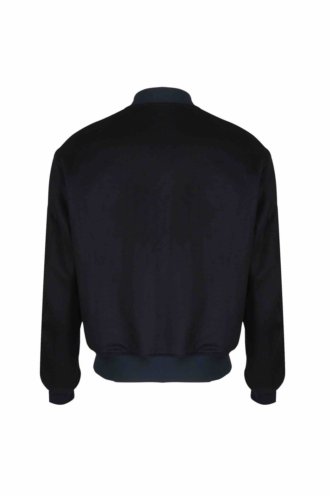 Back view of Men Reversible Wool Patch Bomber in Navy/Black (Black  Side)