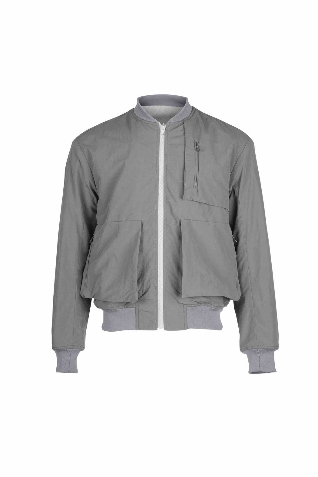 Front view of Men Reversible Wool Patch Bomber in Stone Grey/ Melange Grey (Melange Grey Side)