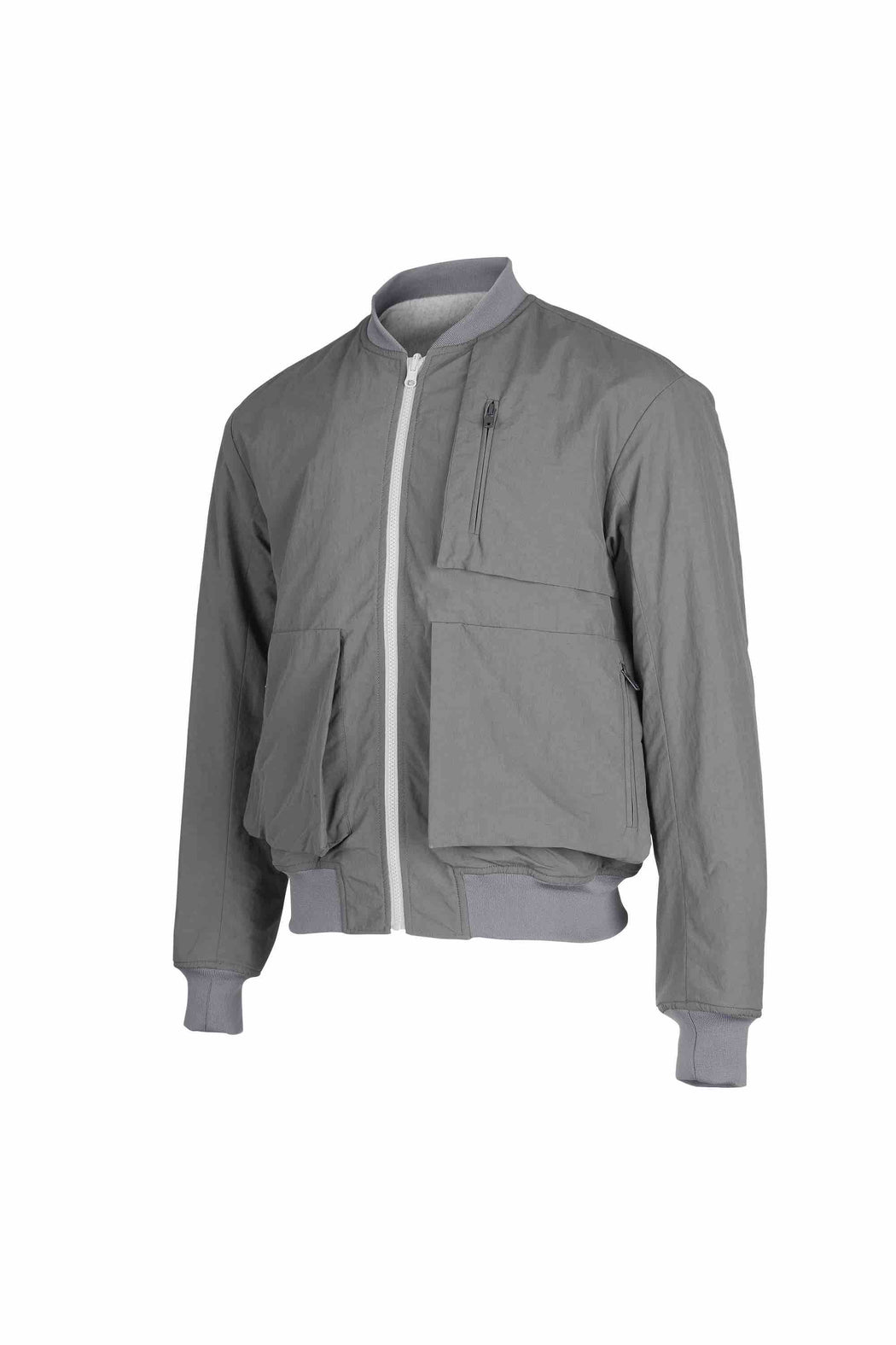 Side view of Men Reversible Wool Patch Bomber in Stone Grey/ Melange Grey (Melange Grey Side)