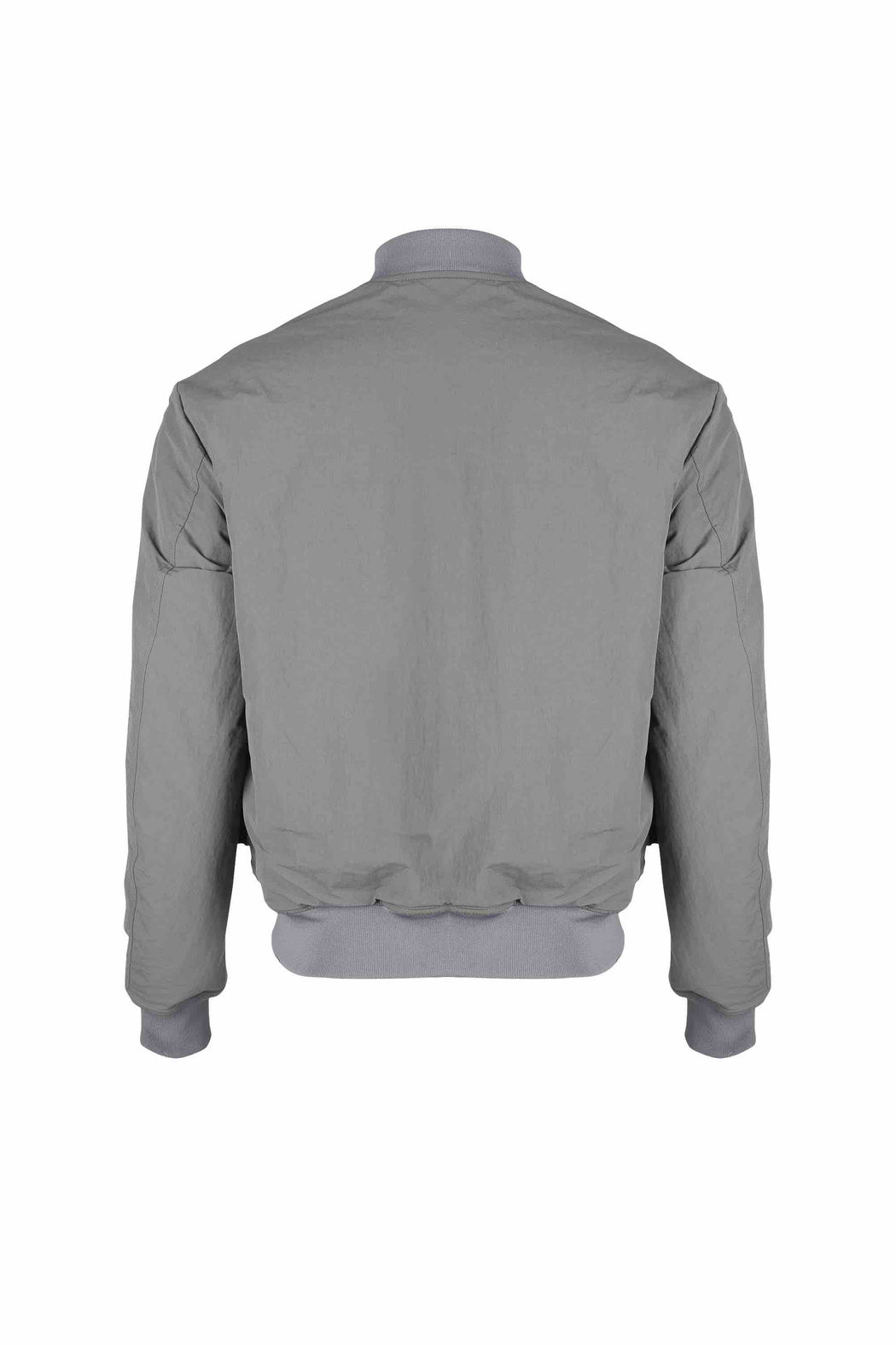 Back view of Men Reversible Wool Patch Bomber in Stone Grey/ Melange Grey (Melange Grey Side)