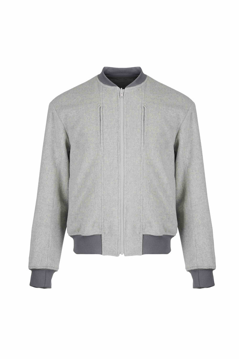 Front view of Men Reversible Wool Patch Bomber in Stone Grey/ Melange Grey (Stone Grey Side)