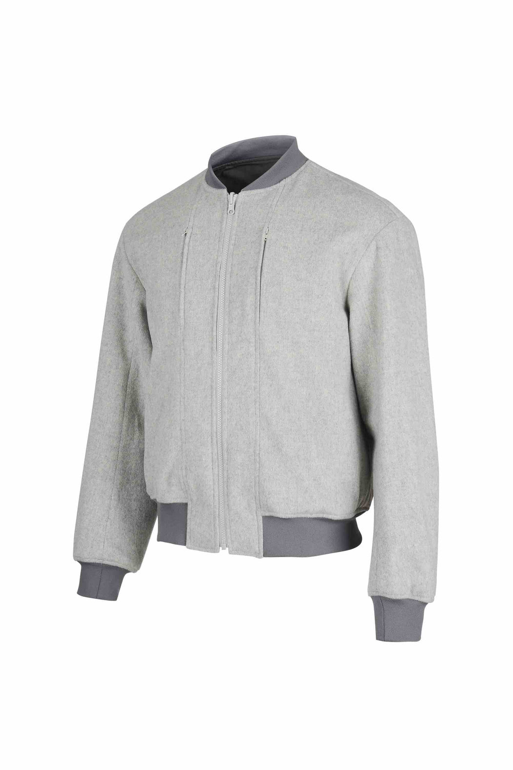 Side view of Men Reversible Wool Patch Bomber in Stone Grey/ Melange Grey (Stone Grey Side)