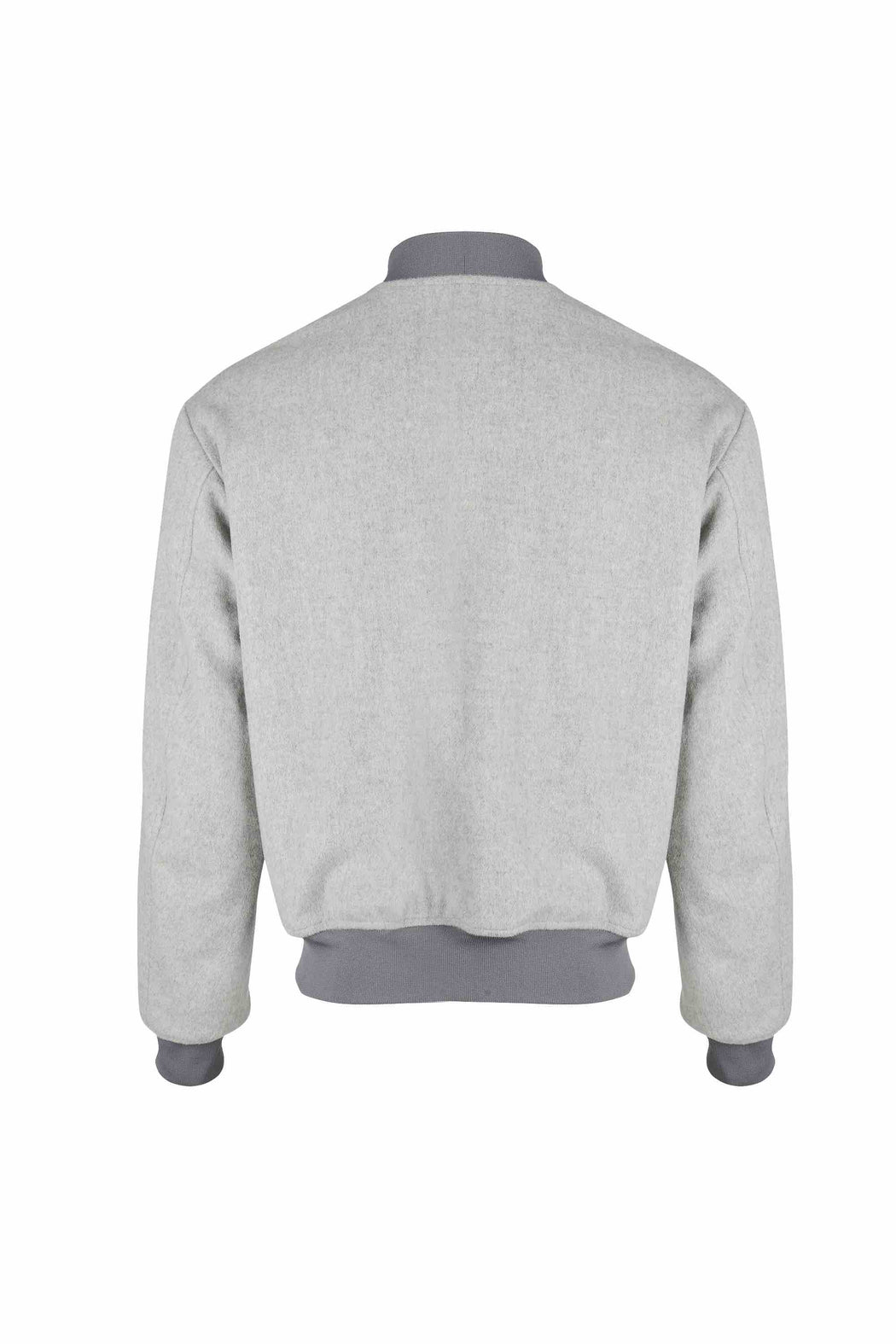 Back view of Men Reversible Wool Patch Bomber in Stone Grey/ Melange Grey (Stone Grey Side)