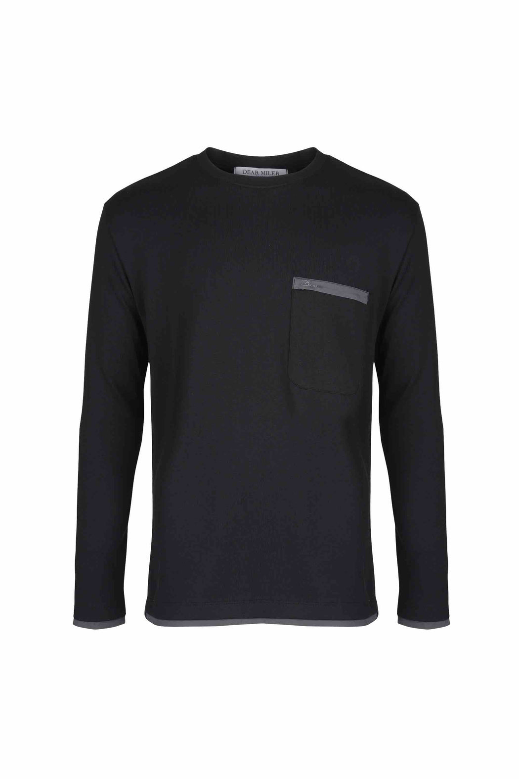 Front view of Men Back Print Long Sleeve T-Shirt made with Organic Cotton in Black