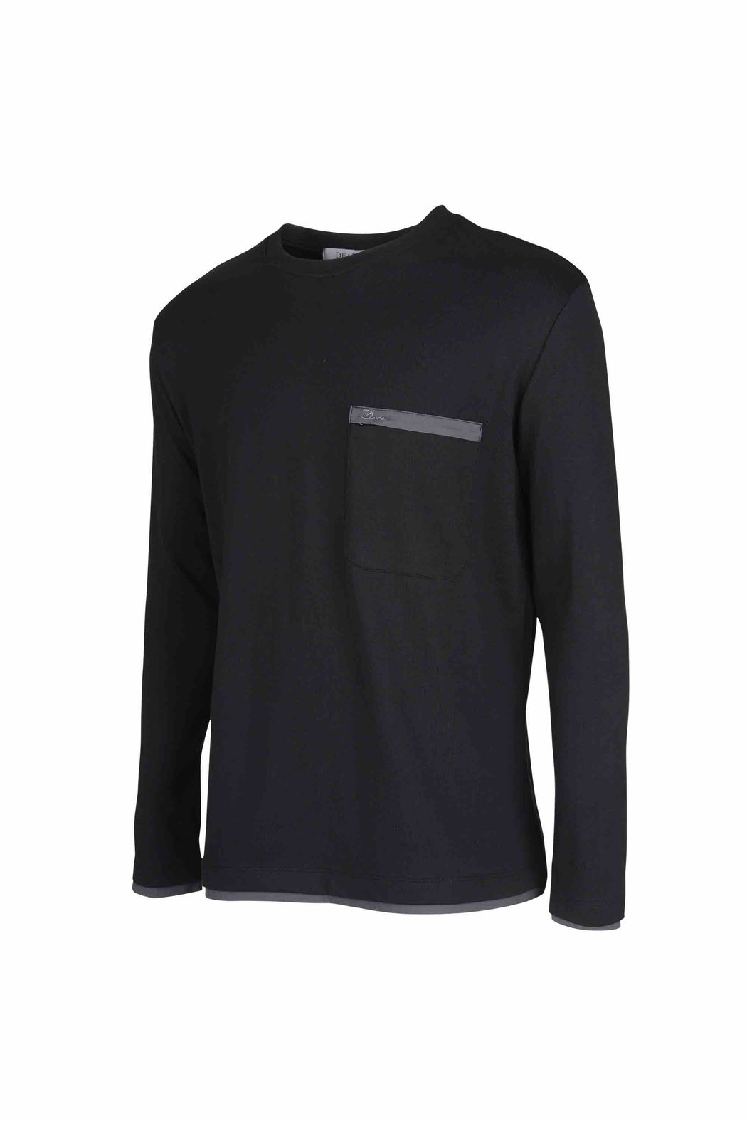 Side view of Men Back Print Long Sleeve T-Shirt made with Organic Cotton in Black