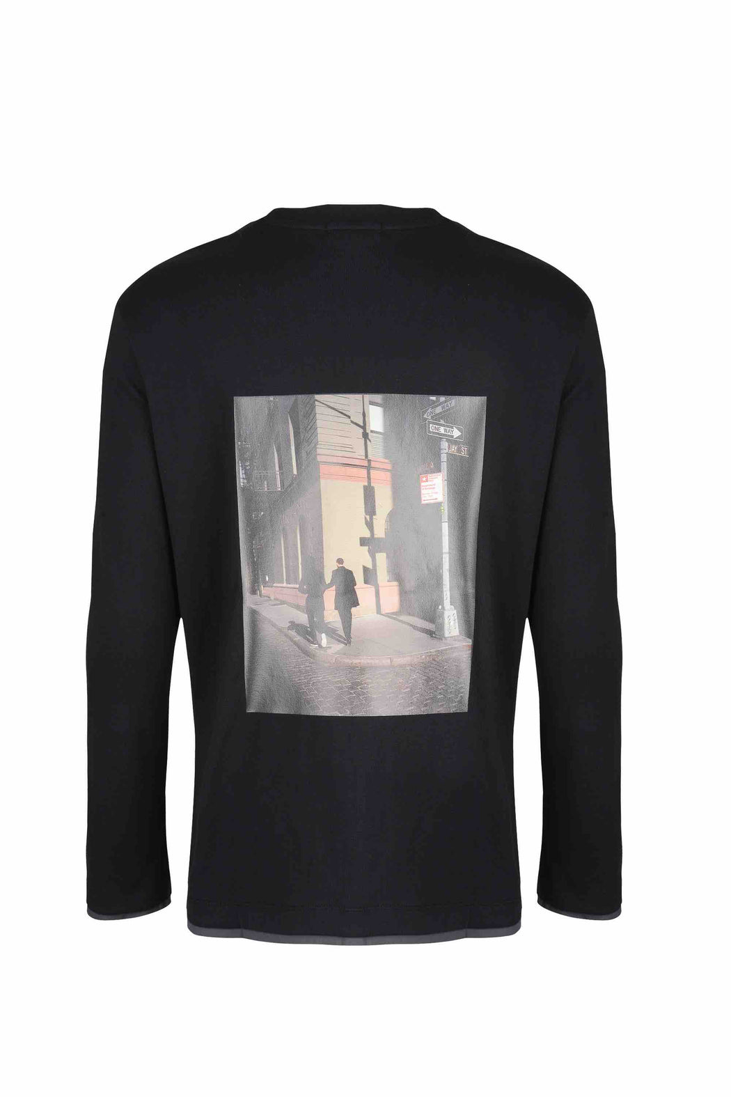 Back view of Men Back Print Long Sleeve T-Shirt made with Organic Cotton in Black