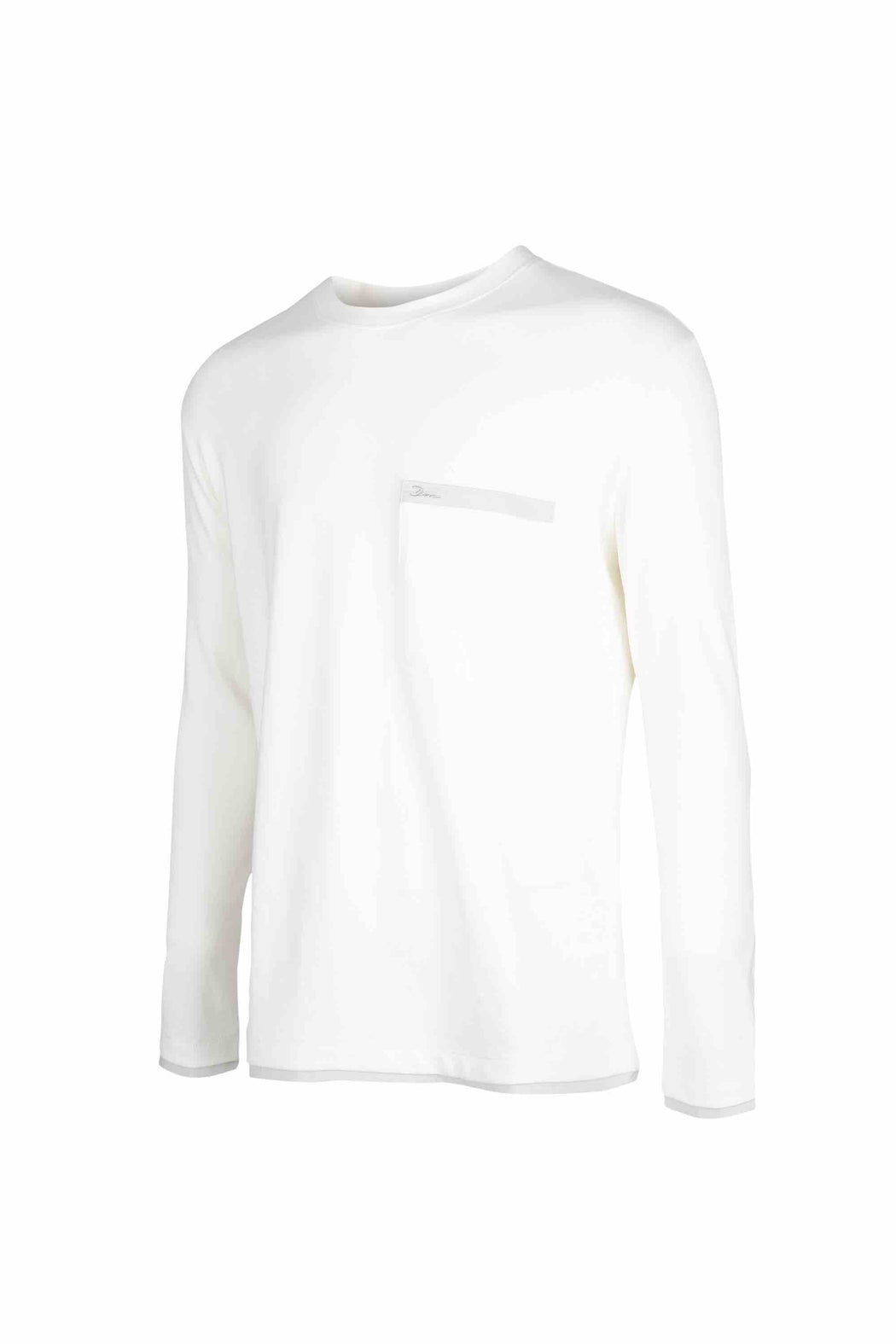 Side view of Men Back Print Long Sleeve T-Shirt made with Organic Cotton in White