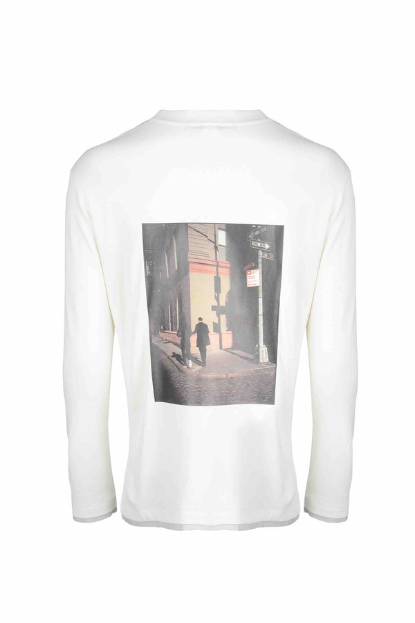 Back view of Men Back Print Long Sleeve T-Shirt made with Organic Cotton in White