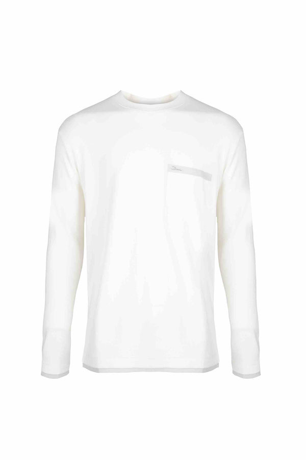 Front view of Men Back Print Long Sleeve T-Shirt made with Organic Cotton in White