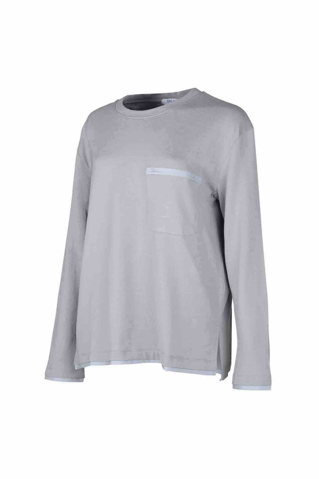 Side view of Men Back Print Long Sleeve T-Shirt made with Organic Cotton in Grey