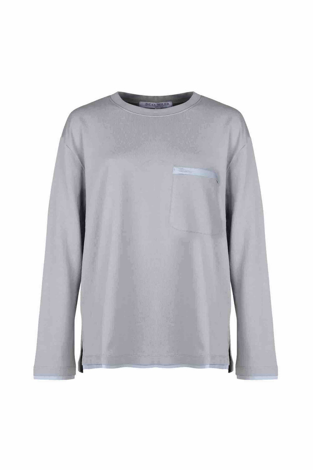 Front view of Men Back Print Long Sleeve T-Shirt made with Organic Cotton in Grey