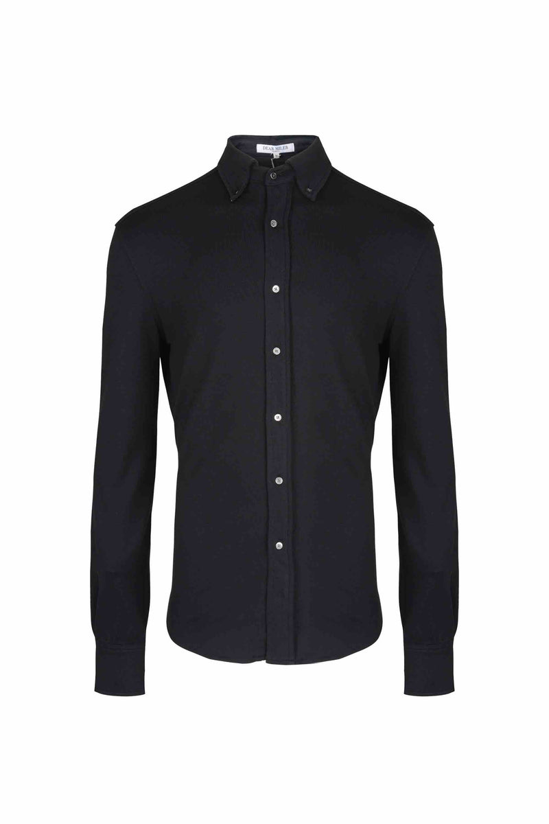 Front view of Men Button Down Jersey Shirt with darts, made with Organic Cotton in Black