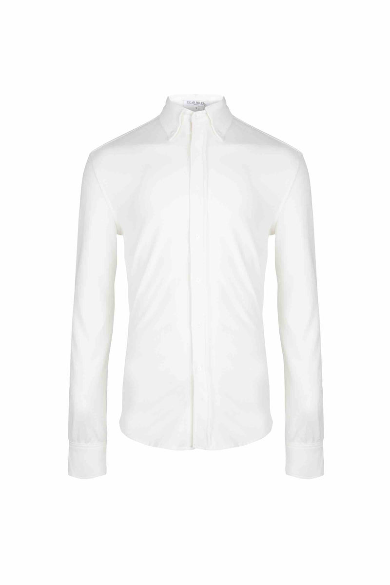 Front view of Men Button Down Jersey Shirt with darts, made with Organic Cotton in White