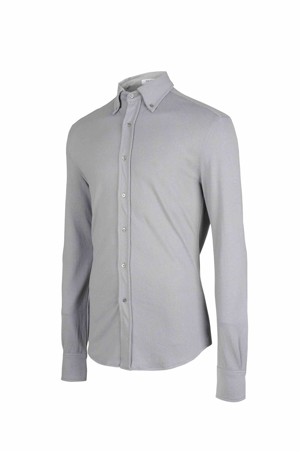 Side view of Men Button Down Jersey Shirt with darts, made with Organic Cotton in Grey