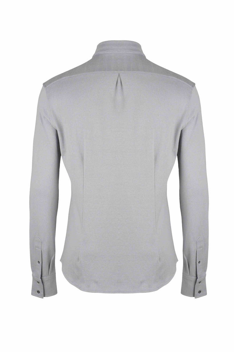 Back view of Men Button Down Jersey Shirt with darts, made with Organic Cotton in Grey