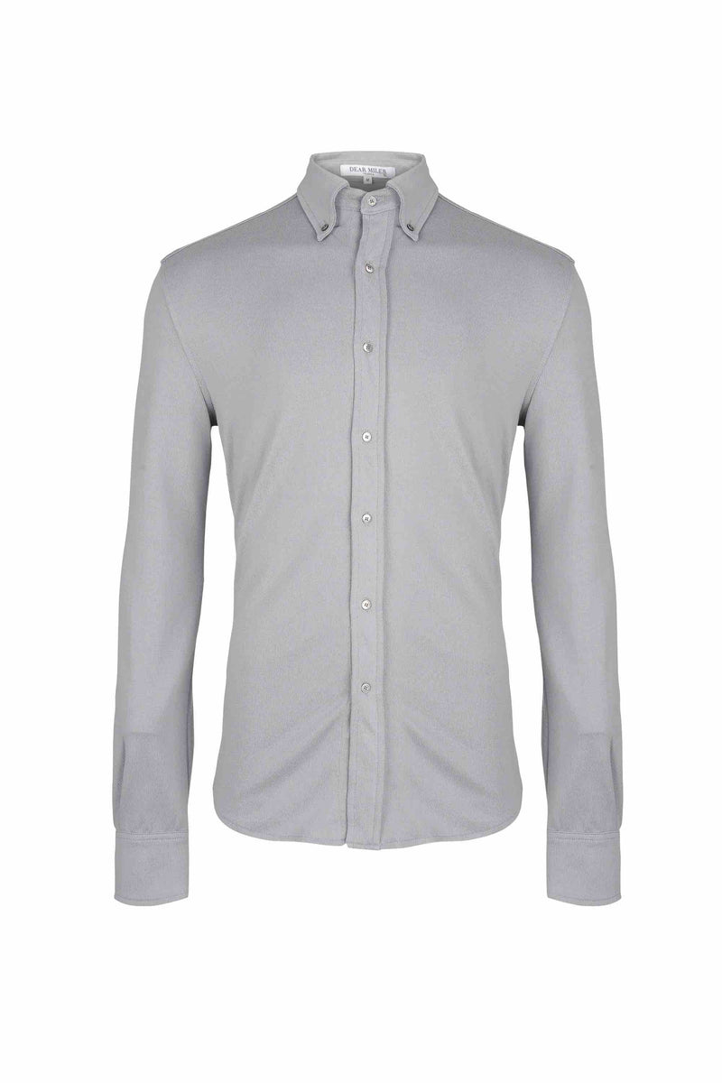 Front view of Men Button Down Jersey Shirt with darts, made with Organic Cotton in Grey