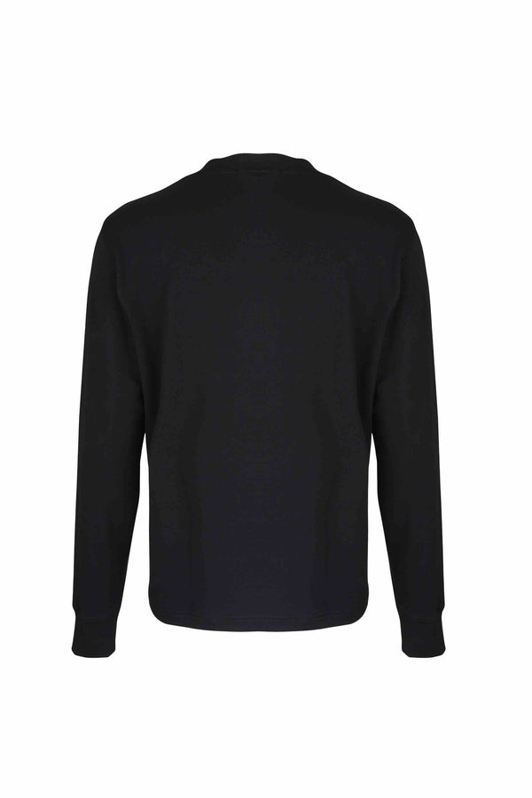 Back view of Men Big Kangaroo Pocket Side Zipper Sweatshirt made with Organic Cotton in Black