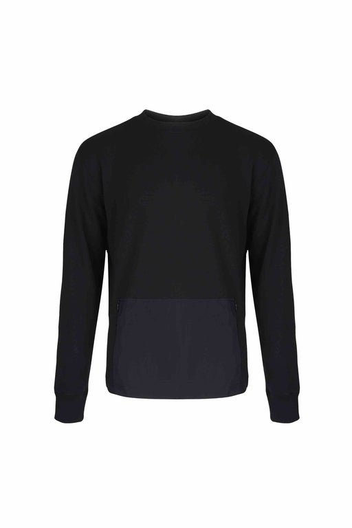 Front view of Men Big Kangaroo Pocket Side Zipper  Sweatshirt made with Organic Cotton in Black