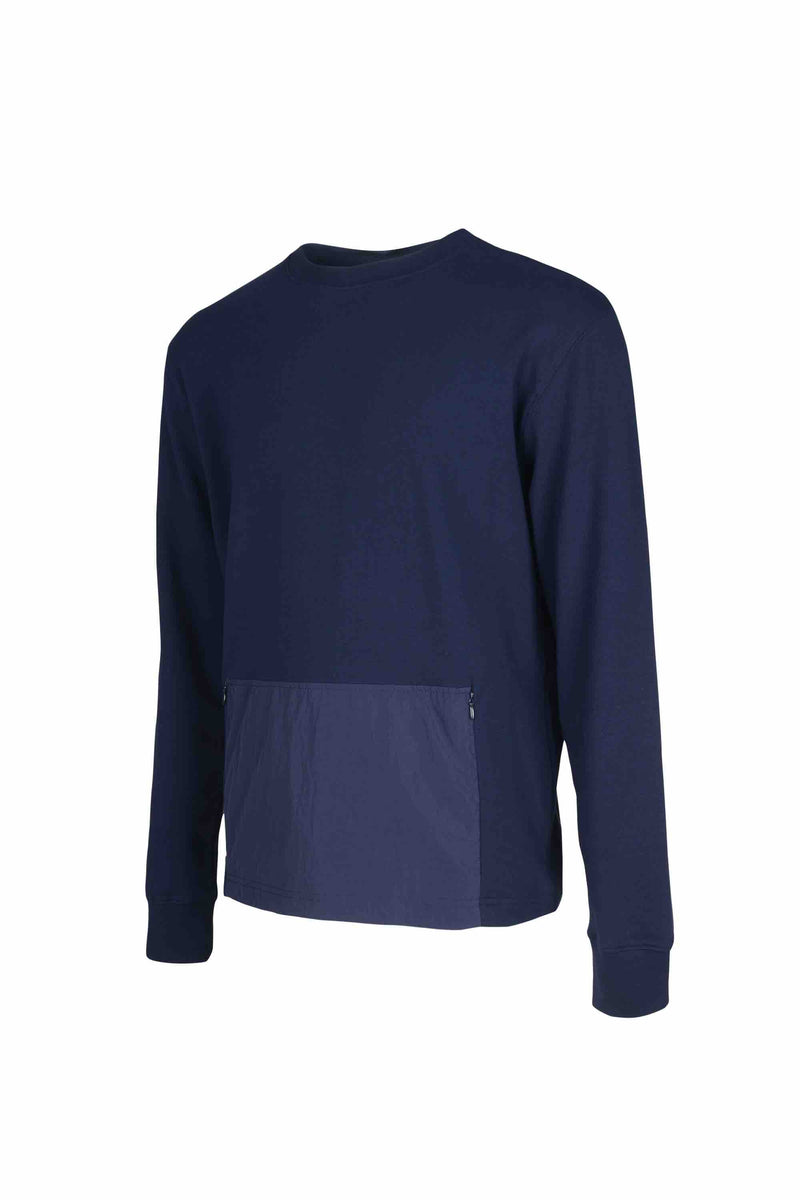 Side view of Men Big Kangaroo Pocket Side Zipper Sweatshirt made with Organic Cotton in Navy
