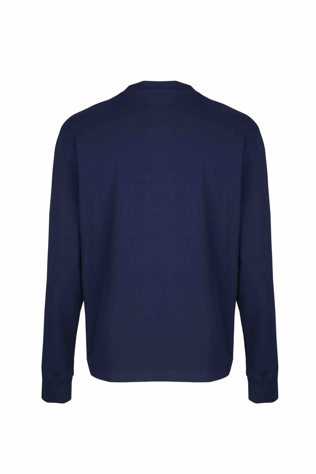 Back view of Men Big Kangaroo Pocket Side Zipper Sweatshirt made with Organic Cotton in Navy