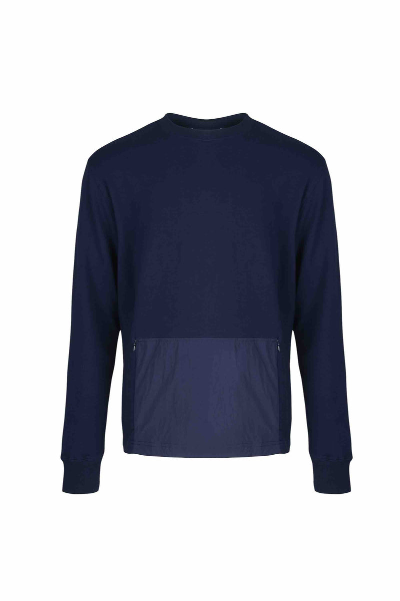Front view of Men Big Kangaroo Pocket Side Zipper Sweatshirt made with Organic Cotton in Navy