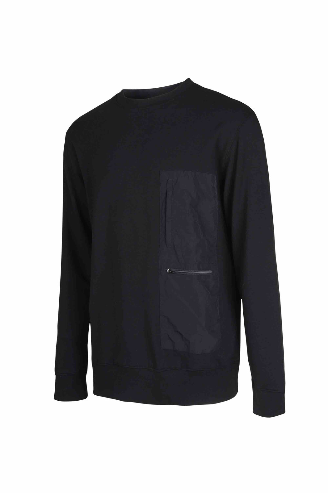 Side view of Men Nylon Pocket Blocked Sweatshirt, made with organic cotton in Black