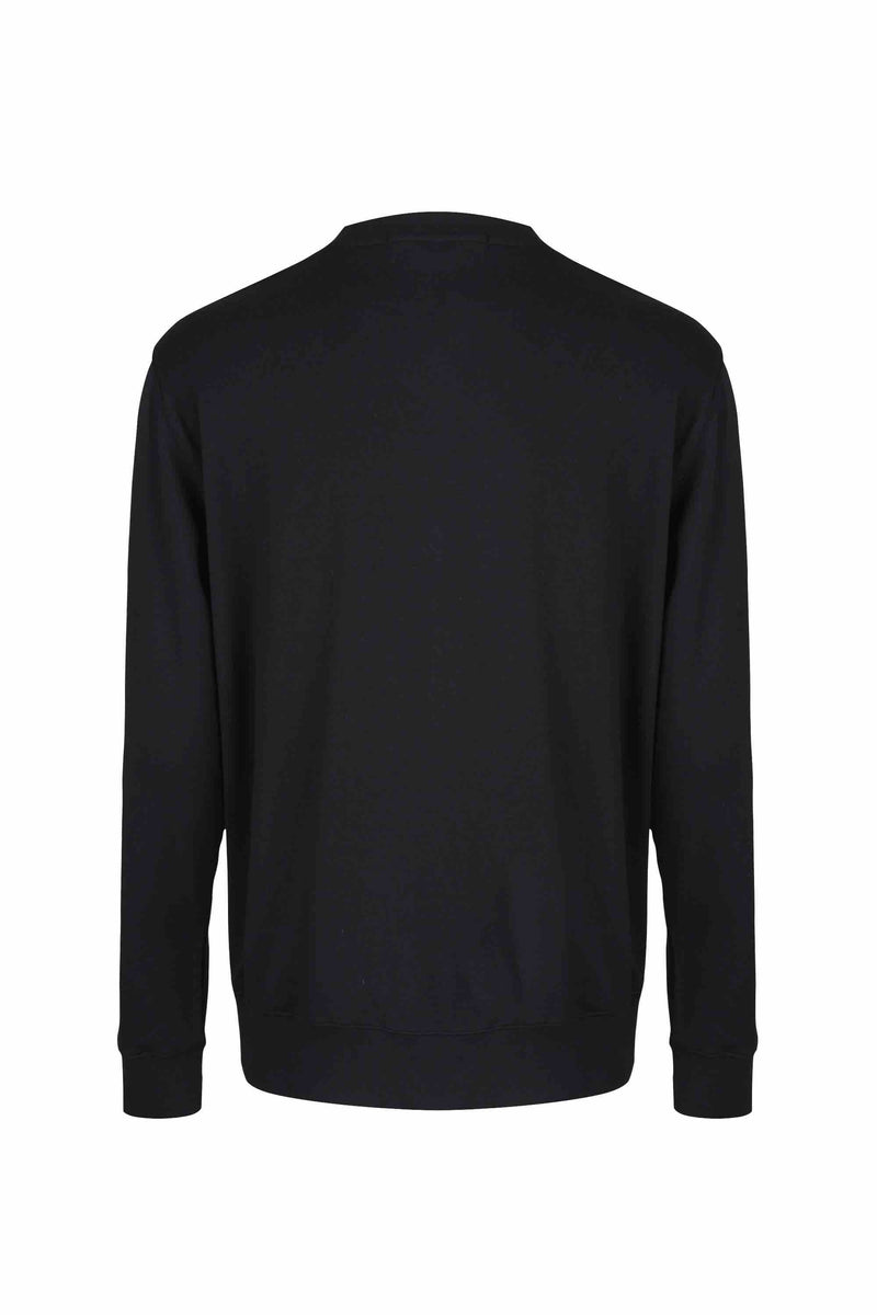 Back view of Men Nylon Pocket Blocked Sweatshirt, made with organic cotton in Black