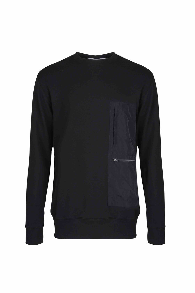 Front view of Men Nylon Pocket Blocked Sweatshirt, made with organic cotton  in Black