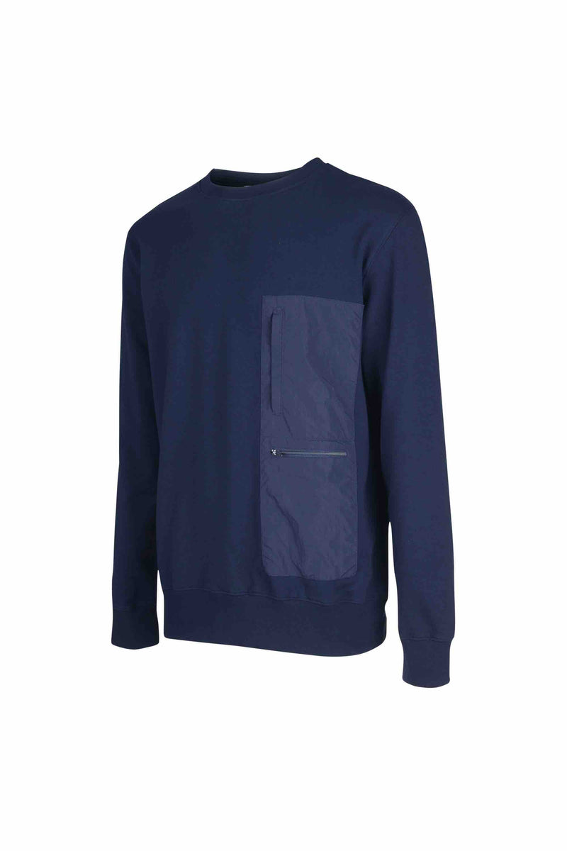 Side view of Men Nylon Pocket Blocked Sweatshirt, made with organic cotton in Navy
