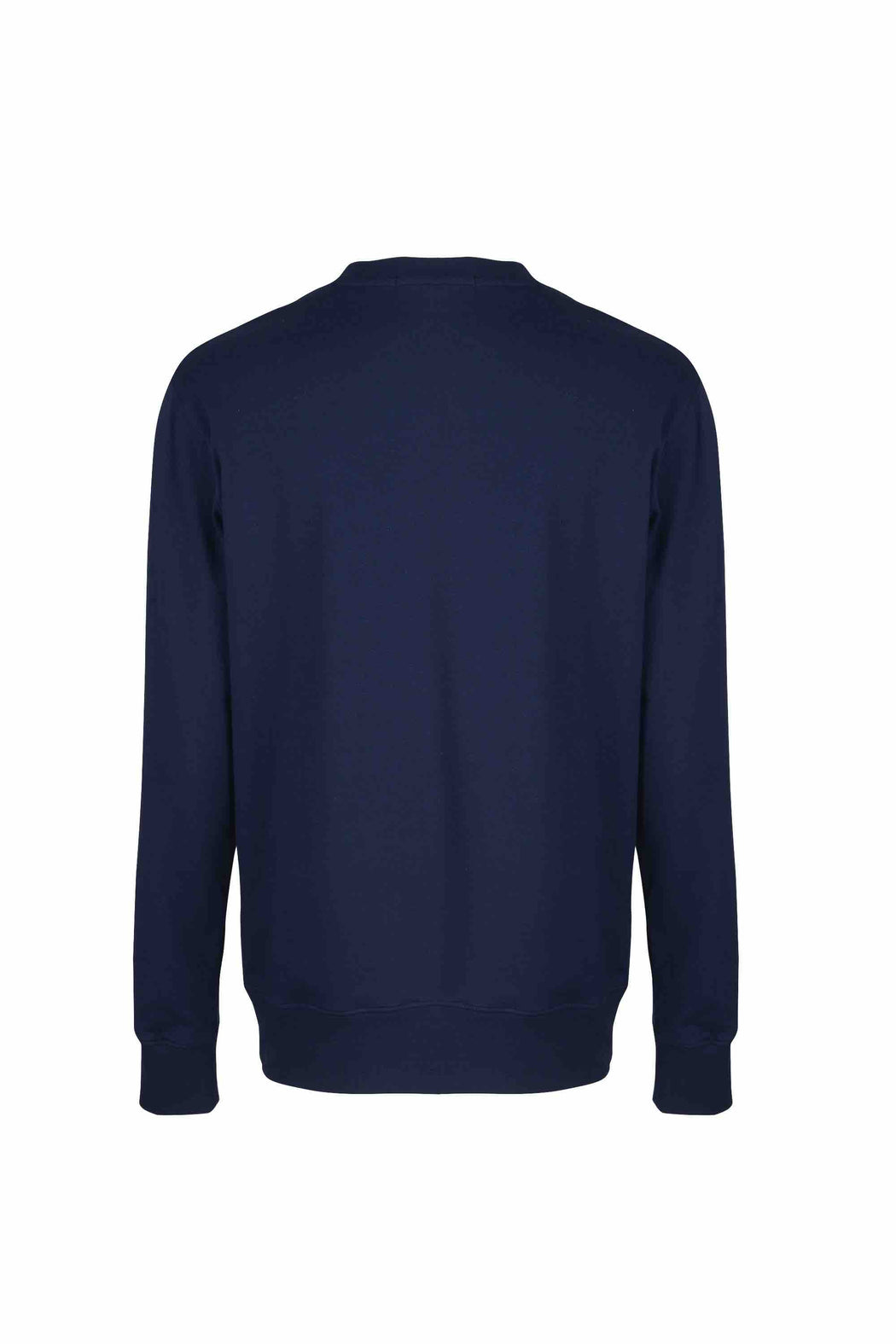 Back view of Men Nylon Pocket Blocked Sweatshirt, made with organic cotton in Navy