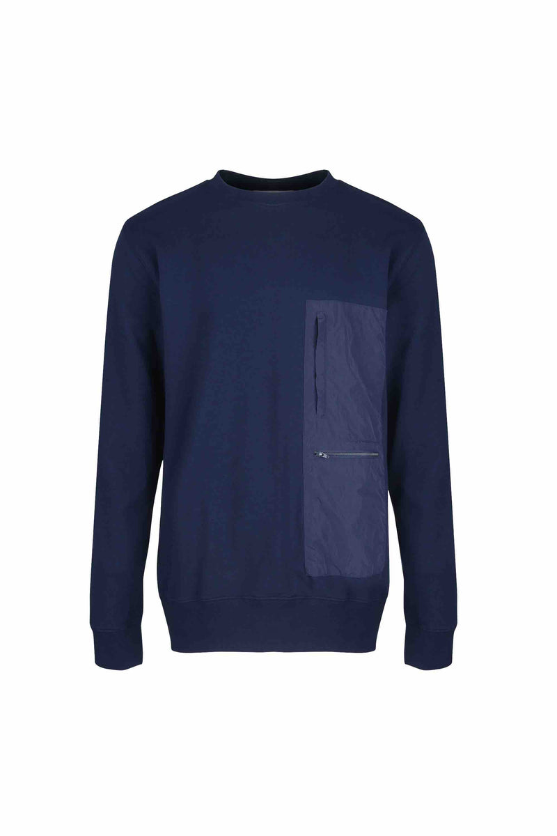 Front view of Men Nylon Pocket Blocked Sweatshirt, made with organic cotton in Navy