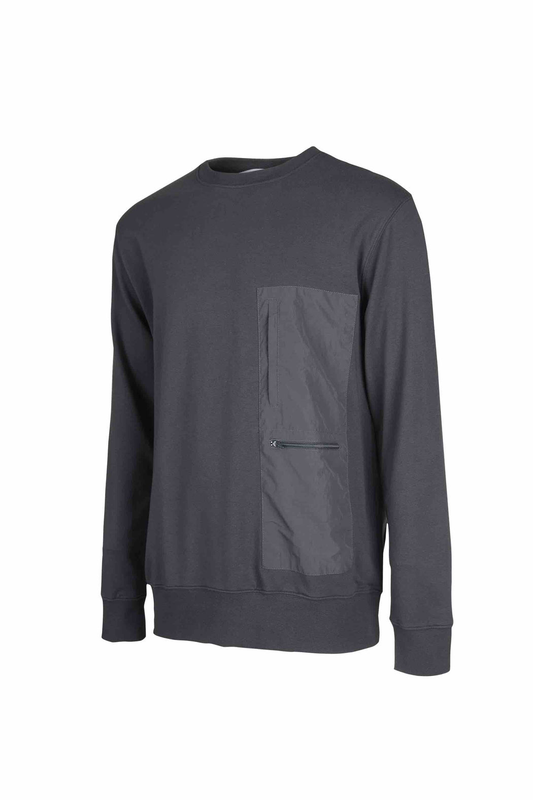 Side view of Men Nylon Pocket Blocked Sweatshirt, made with organic cotton in Grey