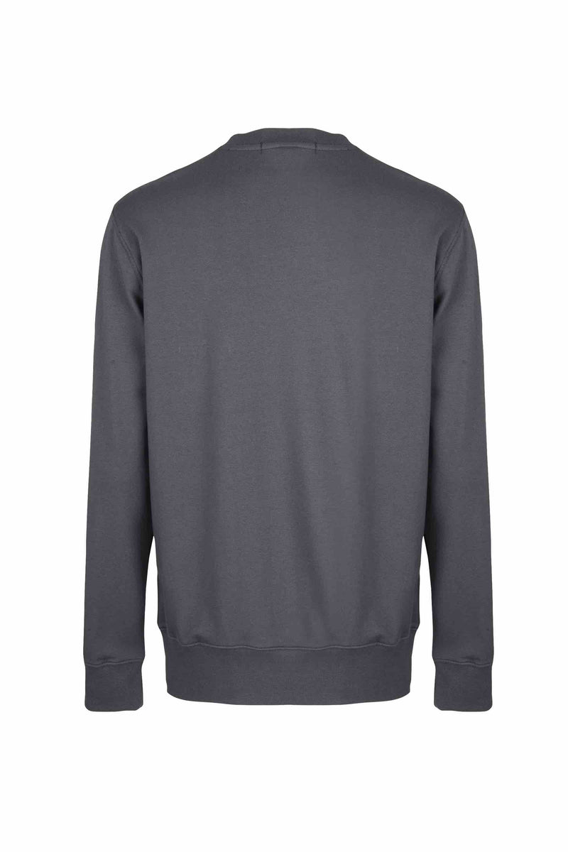 Back view of Men Nylon Pocket Blocked Sweatshirt, made with organic cotton in Grey