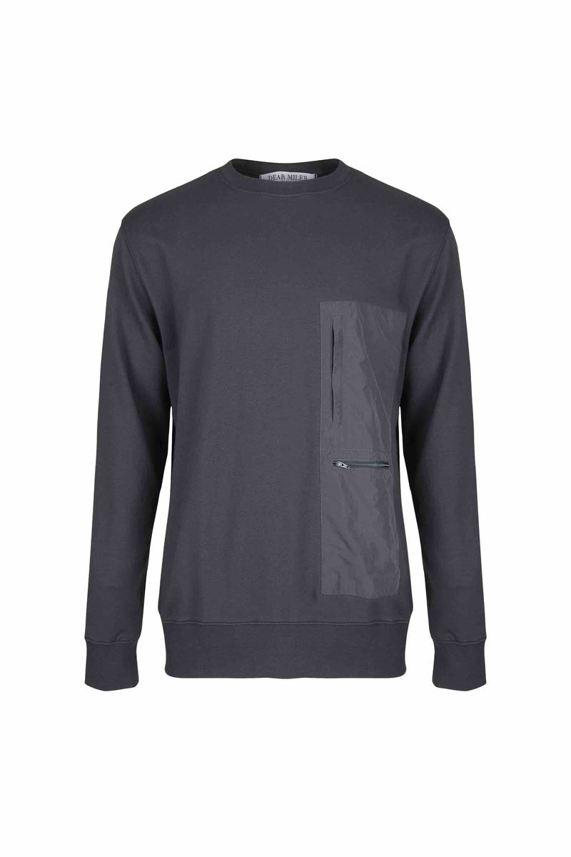 Front view of Men Nylon Pocket Blocked Sweatshirt, made with organic cotton in Grey