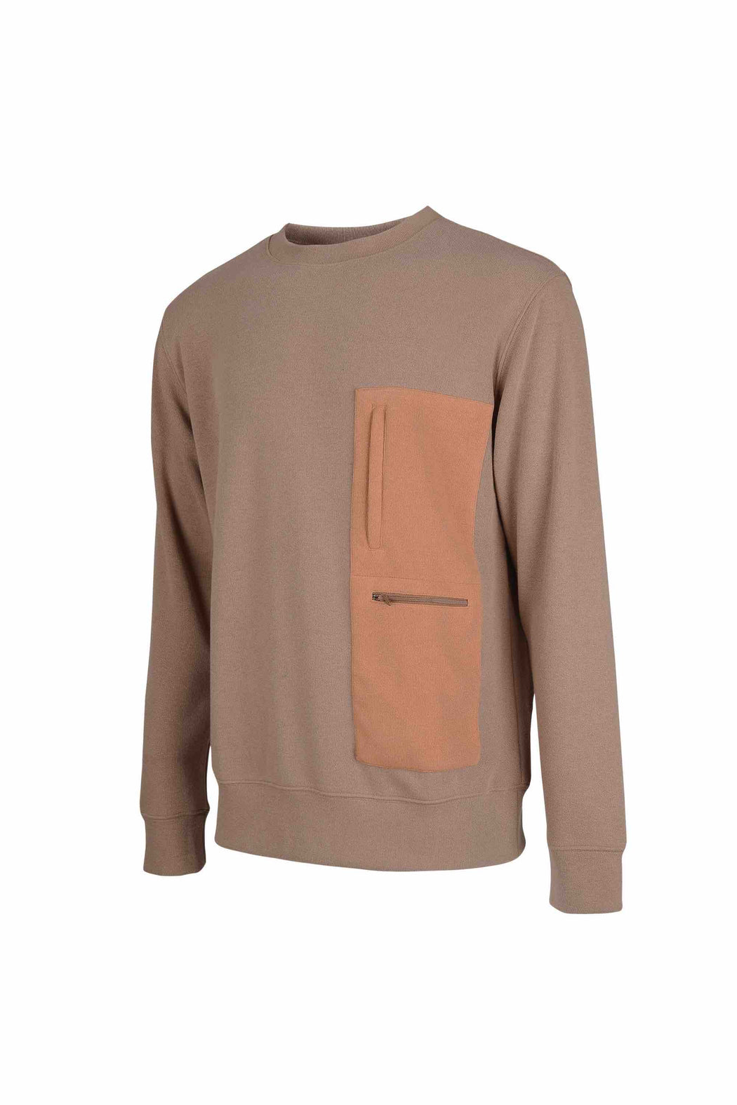 Side view of Men Pocket Blocked Sweatshirt in Orange/Camel